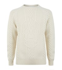 Alexander Mcqueen Chunky Cable Knit Male Cream
