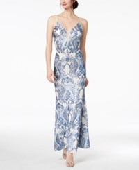Betsy And Adam Damask Sequined Gown Blue Ivory