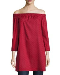 Lafayette 148 New York Off The Shoulder Cotton Tunic Dark Red