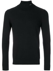 Ck Calvin Klein Jeans Logo Roll Neck Jumper Cotton Cashmere Black