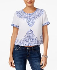 Guess Pia Embroidered Slit Back Top Placed Paisley High