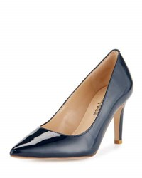 Neiman Marcus Cissy Patent Leather Pointed Toe Pump Navy Paten