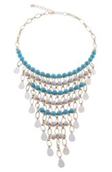 Nakamol Design Crystal And Agate Beaded Bib Necklace Turquoise