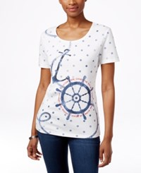 Karen Scott Petite Nautical Graphic T Shirt Only At Macy's Bright White