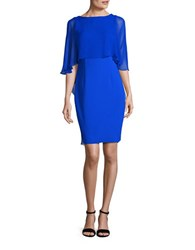 Teri Jon Chiffon Overlay Sheath Dress Cobalt