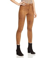 Free People Faux Leather Studded Skinny Pants Brown