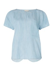 Label Lab Popper Woven Top Blue