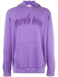 Palm Angels Logo Print Hoodie Pink Purple