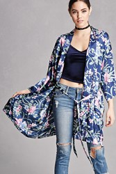 Forever 21 Repurposed Satin Floral Kimono Black Multi