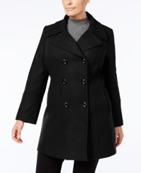 Anne Klein Plus Size Double Breasted Peacoat Black