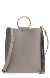 Street Level Metal Handle Faux Leather Crossbody Bag Grey