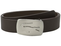 Lacoste Spw Leather Belt Metal Croc Buckle Plate Coffee Brown Men's Belts