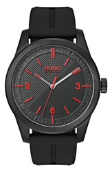 Hugo Automatic Silicone Strap Watch 40Mm Black