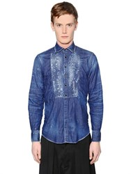 Dsquared2 Stitched Plastron Stretch Denim Shirt