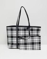 Stradivarius Reversible Check Shopper Black