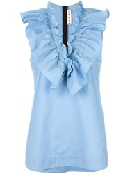 Marni Ruffle Neck Top Blue