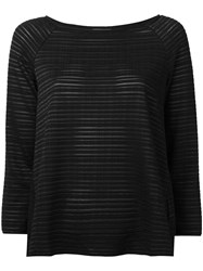 Armani Collezioni Sheer Striped Jumper Black