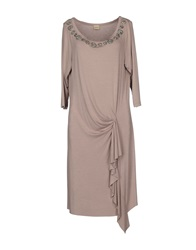 Lucky Lu Knee Length Dresses Light Brown