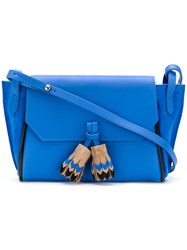 Longchamp Contrast Tassels Shoulder Bag Blue