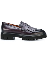 Santoni Fringed Loafers Leather Rubber Pink Purple