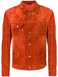 Tom Ford Fitted Suede Jacket Yellow And Orange