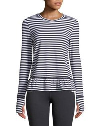 Kate Spade Stripe Ruffle Long Sleeve Pullover Top Black White