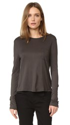 Alexander Wang Cropped Long Sleeve Pocket Tee Forest