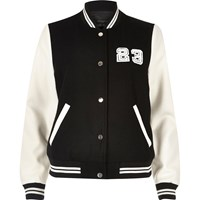 River Island Womens Black And White Varsity Bomber Jacket