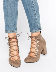 Office Mission Eyelet Tie Up Mid Heeled Shoes Grey Suede