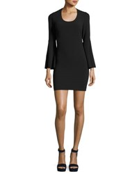 Elizabeth And James Philippa Scoop Neck Bell Sleeve Ponte Sheath Dress Black
