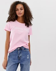 Daisy Street Relaxed T Shirt With Primrose Hill Slogan Pink