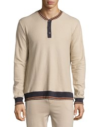 Psycho Bunny Long Sleeve Henley W Contrast Trim Putty Pink
