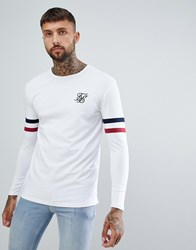 Sik Silk Siksilk Long Sleeve T Shirt With Stripe Sleeves In White