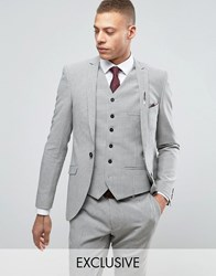 Heart And Dagger Super Skinny Suit Jacket In Summer Dogstooth Pale Grey