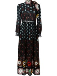 Red Valentino Lace Inserts Flower Dress Black