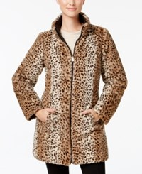 Jones New York Reversible Faux Fur Coat Black