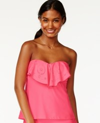 Hula Honey Ruffle Popover Bandeau Tankini Top Women's Swimsuit Watermelon