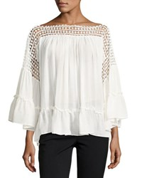 Max Studio Cotton Gauze Ruffle Top Ivory