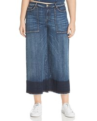 Marina Rinaldi X Ashley Graham Idioma Wide Leg Fringed Hem Jeans Ski Blue