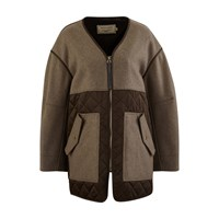 Maison Kitsune Quilted Coat Beige Brown