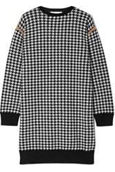Max Mara Canale Houndstooth Wool And Cashmere Blend Mini Dress White