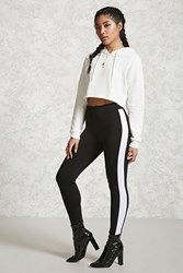 Forever 21 Contemporary Striped Leggings Black Ivory