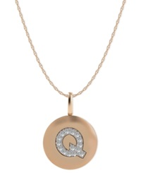 Macy's 14K Rose Gold Necklace Diamond Accent Letter Q Disk Pendant