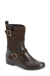 Women's Santana Canada 'Cayley' Waterproof Mixed Media Rain Boot Brown Suede