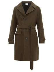 Mhl By Margaret Howell Belted Single Breasted Wool Blend Drill Coat Green