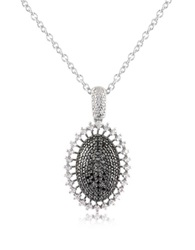 Azhar Black Cubic Zirconia And Sterling Silver Oval Pendant Necklace White Gold