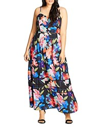City Chic Flower Game Maxi Dress Black