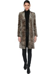 Saint Laurent Leopard Print Cotton Blend Velvet Coat