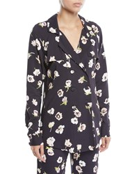 Lela Rose Double Breasted Floral Print Blouse Black Pattern