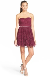 Way In Strapless Lace Skater Dress Wine